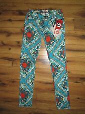 HOT KISS~NWT $44 Turquoise Blue Orange Print Skinny Lily Jean Pants~Size 1  New!