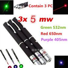 Set of 3 3PC 5mW Red Green Violet RGV Laser Pointer Pen Visible Beam Light