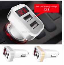 One 2.1A Dual Usb Port Silver Digital Led Voltage Current Display Car Charger!