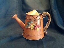 """Decorative Metal Orange Watering Can Fall Autumn Harvest Twine Wrapped Handle 7"""""""