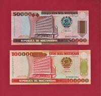2 BEAUTIFUL 1993 MOZAMBIQUE UNC NOTES: 50K Meticais P-138, & 100K Meticais P-139