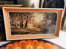 Vintage Retro Kitsch Print - Robert Wood Forest Stream - 1960s 1970s Tretchikoff