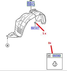 Genuine Kia Sorento Front Arch Liner 2010-2013 - Fitting Kit