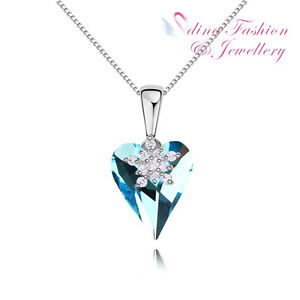 18K White Gold Plated Made With Swarovski Crystal Aqua Snowflake Heart Necklace