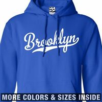 Brooklyn Script HOODIE Hooded Sweatshirt Baseball Team Tail - All Sizes & Colors