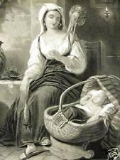 CRADLE HYMNL HYMN INFANT BABY ROCKER 1880 Antique Engraving Print Matted