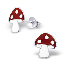Childrens Girls Sterling Silver Toadstool Mushroom Stud Earrings Pair Ear Boxed