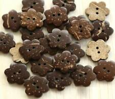 100 Coconut buttons Flowers sewing craft wooden shell 2 holes bulk lot new 12mm