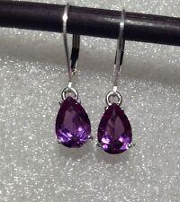 925 Sterling Silver Pear Cut Purple Alexandrite Sapphire Lever Back Earrings