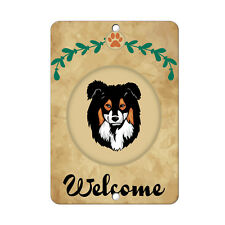Welcome Miniature Australian Shepherd Dog Metal Sign - 8 In x 12 In