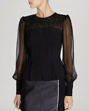 KAREN MILLEN LONG SLEEVE EMBROIDERED BLOUSE WITH PEPLUM BLACK size 8