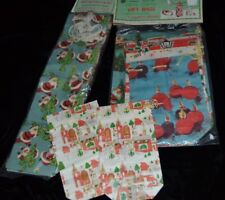 Vtg Mixed Lot of 12 CHRISTMAS SANTA CLAUS Paper Gift Bags Sacks w/Drawstrings