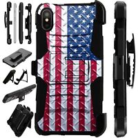 Lux-Guard For iPhone 6/7/8 PLUS/X/XR/XS Max Phone Case Cover CROSSHATCH US FLAG