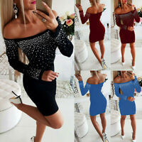 Women Off-Shoulder Long Sleeve Party Cocktail Rhinestone Mini Bodycon Sexy Dress