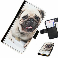 DOGA01 PUG PRINTED LEATHER WALLET/FLIP PHONE CASE COVER FOR ALL MODELS