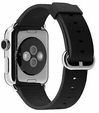 Genuine Apple 38mm Classic Buckle - MLHG2ZM/A - Black Leather Watch Band - VG