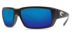COSTA DEL MAR Fantail Sunglasses. Grey Blue Mirror 580 Glass, Matte Black M / L