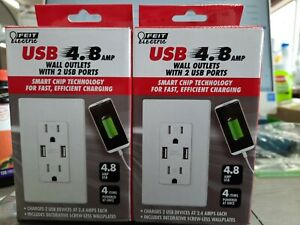 2-Pack Feit Electric Tamper Resistant Wall Outlets FAST CHARGE USB Ports 4.8amp