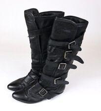 Steve Madden Womens P-Geller Strap Buckles Leather Knee High Boots Black Sz 6.5