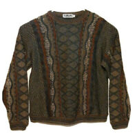 Vtg 90s Coogi Biggie Cosby style sweater Lavane New York Textured Large Green