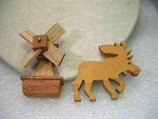 Vintage Pair of Wooden Hand Made Moose & Windmill Brooches