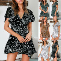 Fashion Sexy V-Neck Polka Dots Ruffle Short Sleeve Belted Lady Casual Mini Dress