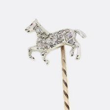 Vintage Diamond Horse Stick Pin 18ct White Gold