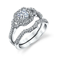 925 Sterling Silver CZ Engagement Wedding Ring Set Cubic Zirconia Micro Pave