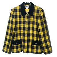 Vintage Leslie Fay Tweed Coat Womens Size 16 Velour Pockets Yellow Plaid