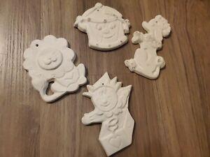 Unpainted Ceramic Flat Figures