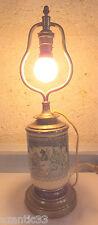 ancienne lampe faience laiton décor chasseur