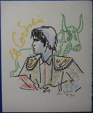Jean COCTEAU : EL CORDOBES - LITHOGRAPHIE SIGNEE # 1965 # TAUREAUX, FERIA