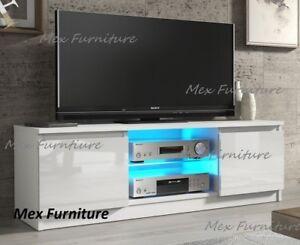 Modern TV Unit  Cabinet  Stand White Matt and White High Gloss Doors, Free Led