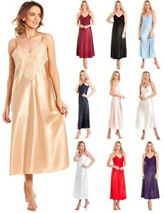 Luxury Long Satin Summer Sexy Nightdress Chemise Lace Sleepwear Bridal