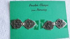 Estate Button Clasp 2 Norway Pewter Clasps Sweater Cord Plimoth Plantation NOS