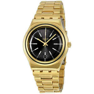Swatch Irony Last Run Black Dial Gold-plated Ladies Watch YLG405G