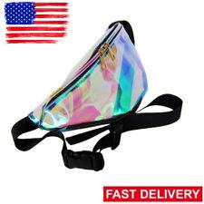 Women Girl Punk Rainbow Transparent Hologram Waist Bag Purse Fanny Pack Bum PL