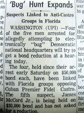 1972 newspaper 5 men are arrested in DC -THE  BEGINNING of THE WATERGATE SCANDAL