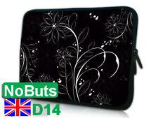 "D14 white Flower 10"", 10.1"", 10.2"" tablet ipad Notebook Sleeve Soft Case UK"