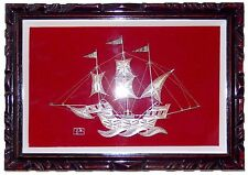 Sterling Silver Filigree Ship Model Sculpture 3 SAILS Shadowbox Frame 12x9 inch