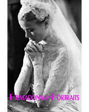 GRACE KELLY 8X10 Lab Photo 1956 Lace WEDDING Gown, Helen Rose Design Portrait