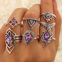 7Pcs/set Retro Boho Vintage Silver Amethyst Crystal Midi Knuckle Ring Jewelry
