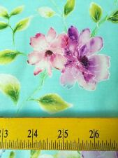 """New listing Quilting Treasures Fabric """"Ariel"""" Pink Florals Turquoise 4 Tablecloths Quilts"""