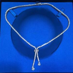 "Platinum Sterling Silver White Sapphire Lariat Design Bridal Tennis Necklace 16"""