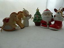 Vtg Homco Ornaments lot of 6 Porcelain Angel Christmas Tree pony deer Santa Boot