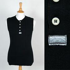 Da Uomo Levis Vintage Levi a Costine Elasticizzato Senza Maniche T-Shirt Top Nero USA 80's S
