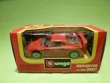 BBURAGO 4108  FERRARI F40 1987 - RED 1:43 - RARE SELTEN - NEAR MINT IN BOX