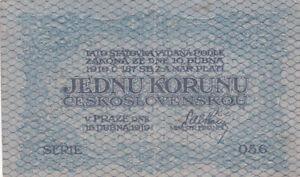 1 KORUNU FINE BANKNOTE FROM CZECHOSLOVAKIA 1919  PICK-6