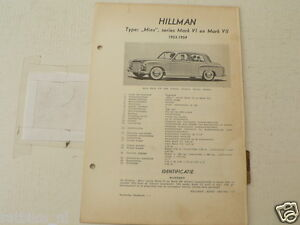 HILL1--HILLMAN MINX MARK VI EN MARK VII 1953-1954 ,TECHNICAL INFO CAR OLDTIMER