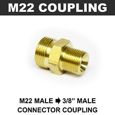 "M22 Male to 3/8"" Male Coupling Connector BRASS Pressure Washer Hose Adapter"